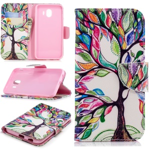 Pattern Printing Magnetic Leather Stand Cover for Samsung Galaxy J4 (2018) - Colorized Tree