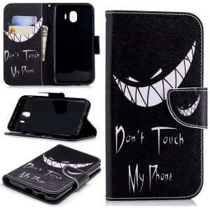 Pattern Printing Wallet Leather Protection Case for Samsung Galaxy J4 (2018) - Do not Touch My Phone