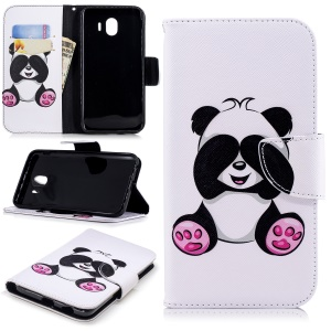 Pattern Printing Wallet Leather Stand Case for Samsung Galaxy J4 (2018) - Cute Panda