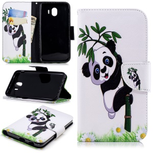 Pattern Printing Wallet Leather Stand Cover for Samsung Galaxy J4 (2018) - Panda Pattern