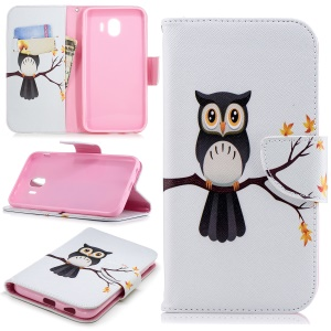 Pattern Printing Wallet Leather Stand Shell for Samsung Galaxy J4 (2018) - Owl on the Branch
