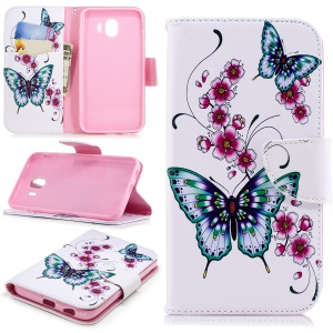 Pattern Printing Wallet Leather Magnetic Case for Samsung Galaxy J4 (2018) - Butterfly and Flower