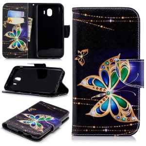 Pattern Printing Leather Wallet Cover for Samsung Galaxy J4 (2018) - Colorized Butterfly
