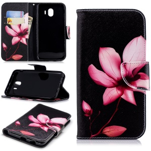 Pattern Printing Wallet Leather Cell Phone Case for Samsung Galaxy J4 (2018) - Flower Pattern