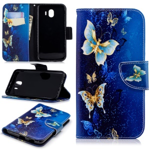Pattern Printing Leather Stand Case with Card Slots for Samsung Galaxy J4 (2018) - Butterfly Pattern