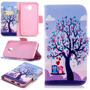 Pattern Printing Leather Stand Cover with Card Slots for Samsung Galaxy J4 (2018) - Tree and Owls