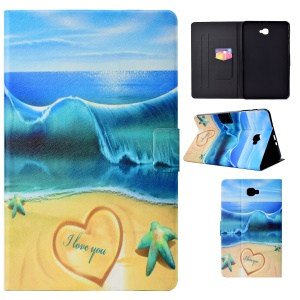 Patterned Leather Smart Tablet Shell Case for Samsung Galaxy Tab A 10.1 (2016) T580 - Summer Seaside