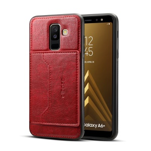 Crazy Horse Leather Coated PC + TPU Combo Case with Kickstand and Card Slot for Samsung Galaxy A6+ (2018) - Red