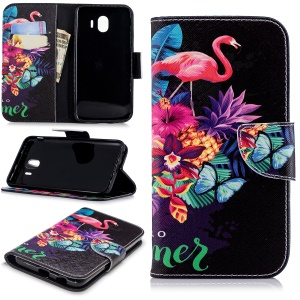 Pattern Printing PU Leather Wallet Stand Shell for Samsung Galaxy J4 (2018) - Flamingo and Pineapple