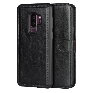Detachable 2-in-1 Crazy Horse Leather Wallet Shell + TPU Back Case for Samsung Galaxy S9+ SM-G965 - Black
