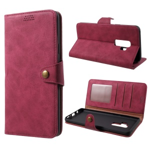 Textured PU Leather Wallet Stand Phone Case for Samsung Galaxy S9 Plus SM-G965 - Red