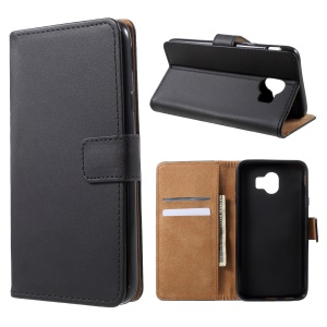 Wallet Stand Flip Leather Phone Casing for Samsung Galaxy J4 (2018) - Black