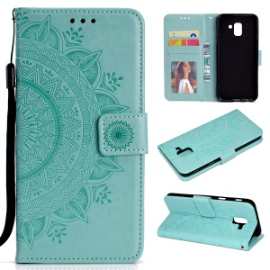 Imprint Butterfly Flower Stand Leather Wallet Case for Samsung Galaxy J6 (2018) - Cyan