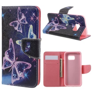 Wallet Leather Stand Cover Case for Samsung Galaxy S7 G930 - Vivid Butterflies