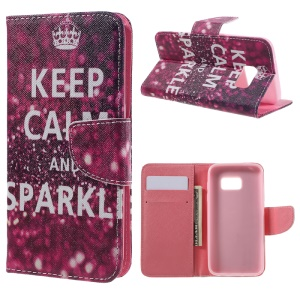 Magnetic Leather Stand Case for Samsung Galaxy S7 G930 - Keep Calm and Sparkle