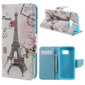 Leather Stand Cover with Card Slots for Samsung Galaxy S7 G930 - Paris Eiffel Tower