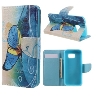 PU Leather Card Holder Case for Samsung Galaxy S7 G930 - Blue Butterfly