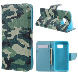 Wallet Leather Stand Case for Samsung Galaxy S7 G930 - Camouflage Pattern