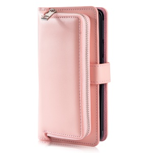 Detachable Magnetic 2-in-1 Zippered Wallet Leather Phone Shell for Samsung Galaxy S9 SM-G960 - Pink