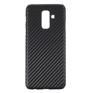 PU Leather Coated PC Hard Cover Shell for Samsung Galaxy A6 (2018) - Carbon Fiber Texture