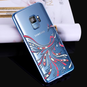 KINGXBAR Authorized Swarovski Rhinestone Hard Case for Samsung Galaxy S9 G960 - Phoenix / Blue