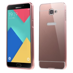 Metal Frame Mirror-like PC Back Shell for Samsung Galaxy A9 (2016) - Rose Gold