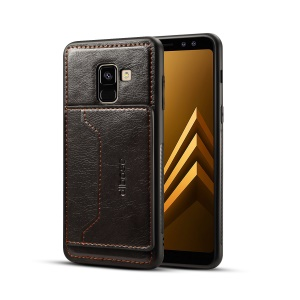 DIBASE Crazy Horse Texture Leather Coated TPU + PC Card Slot Protection Phone Case with Kickstand for Samsung Galaxy A6 (2018) - Black