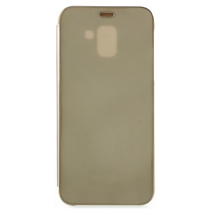 Plated Mirror Surface Leather Stand Protection Folio Accessory Case for Samsung Galaxy J6 (2018) - Gold
