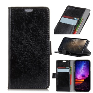 Black - Textured PU Leather Wallet Stand Mobile Casing for Samsung Galaxy J4 (2018)