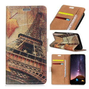 Eiffel Tower and Maple Leaves - Pattern Printing PU Leather Flip Mobile Cover Case with Stand for Samsung Galaxy J7 (2018) J737