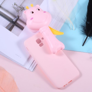 3D Cartoon Deer Soft TPU Jelly Phone Cover with Fan for Samsung Galaxy A6 (2018) - Pink