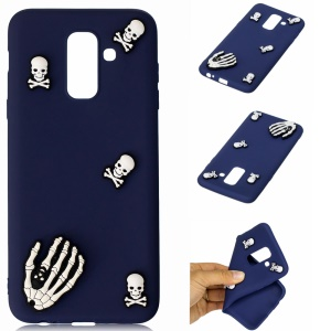 3D Cute Silicone Doll Pattern TPU Mobile Case for Samsung Galaxy A6+ (2018) / A9 Star Lite - Skull