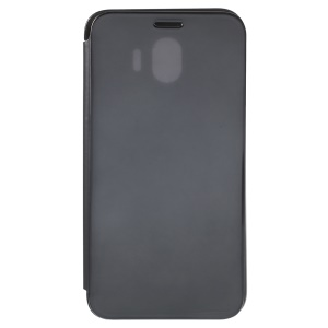 For Samsung Galaxy J4 (2018) Electroplating Mirror Surface View Window Leather Stand Case - Black