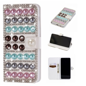 For Samsung Galaxy A8 (2018) Rhinestone Decor PU Leather Wallet Stand Mobile Case - Colorful Pearls