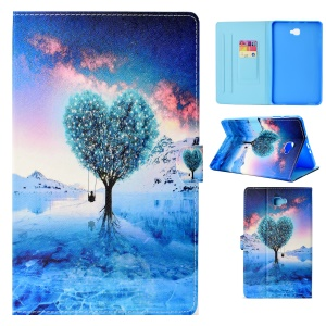 Pattern Printing Stand Leather Smart Case for Samsung Galaxy Tab A 10.1 (2016) T580 - Heart-shape Tree