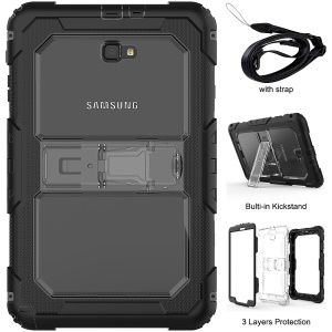 Heavy Duty Silicone PC Hybrid Kickstand Case with Detachable Strap for Samsung Galaxy Tab A 10.1 (2016) T585/T580 - Transparent
