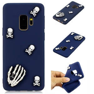 3D Cute Silicone Doll Pattern Soft TPU Back Case for Samsung Galaxy S9 G960 - Skull