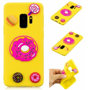 3D Cute Silicone Doll Pattern Soft TPU Mobile Casing for Samsung Galaxy S9 G960 - Doughnuts and Lollipop