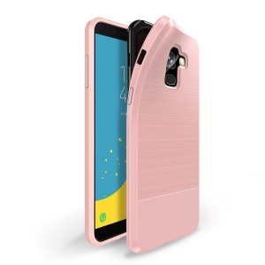 DUX DUCIS MOJO Series Carbon Fibre Brushed TPU Gel Cover for Samsung Galaxy J6 (2018) - Pink