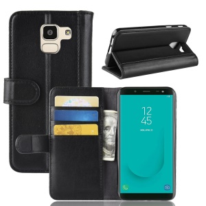 Genuine Split Leather Wallet Stand Phone Shell for Samsung Galaxy J6 (2018) - Black