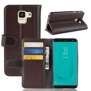Genuine Split Leather Wallet Stand Flip Cover for Samsung Galaxy J6 (2018) - Brown