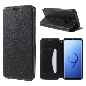 Auto-absorbed Card Holder Stand Leather Case for Samsung Galaxy S9 G960 - Black