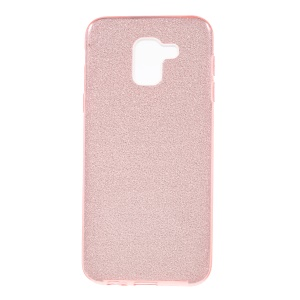 3-in-1 Glittery Powder Paper TPU + PC Hybrid Cell Phone Case for Samsung Galaxy J6 (2018) - Pink