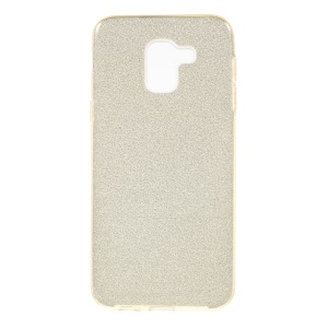 3-in-1 Glittery Powder Paper TPU + PC Hybrid Case Protector for Samsung Galaxy J6 (2018) - Gold