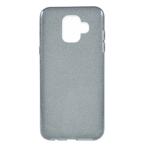 3-in-1 Glittery Powder Paper TPU + PC Combo Phone Case for Samsung Galaxy A6 (2018) - Grey