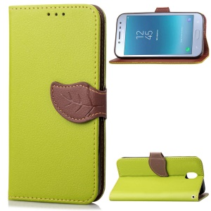 Leaf Shape Magnetic Flap Leather Wallet Phone Case for Samsung Galaxy J7 (2018) J737 - Green