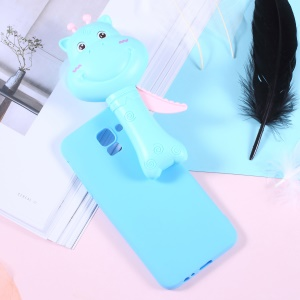 3D Cartoon Hippo Fan Soft TPU Jelly Casing Cover for Samsung Galaxy J4 (2018) - Blue