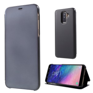 Electroplating Mirror Surface View Window Smart Leather Stand Cover for Samsung Galaxy A6+ (2018) / A9 Star Lite - Black