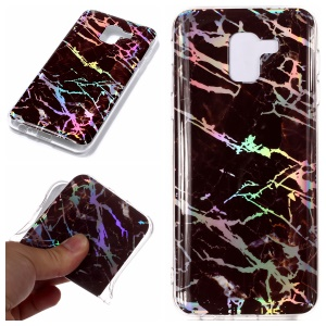 For Samsung Galaxy A6 (2018) Marble Pattern Plated IMD TPU Soft Mobile Cover - Black