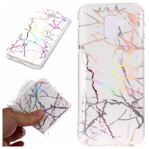 For Samsung Galaxy A6 (2018) Marble Pattern Plated IMD TPU Soft Mobile Shell - White